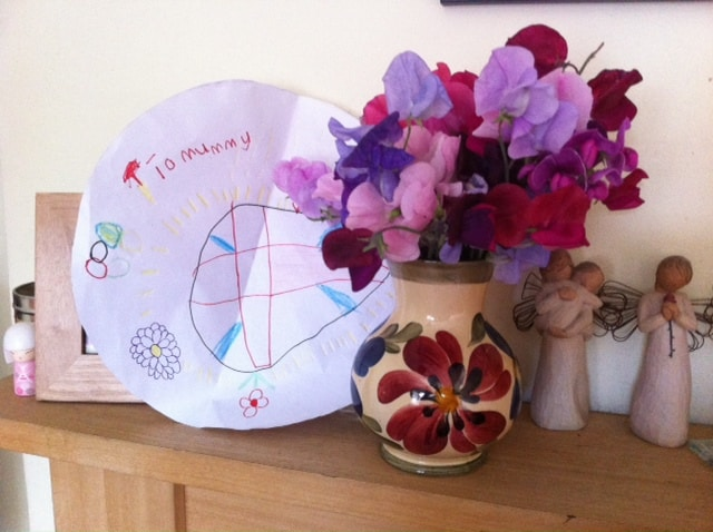 flowers for mum. flowers and cards. homemade cards  thrifty gifts