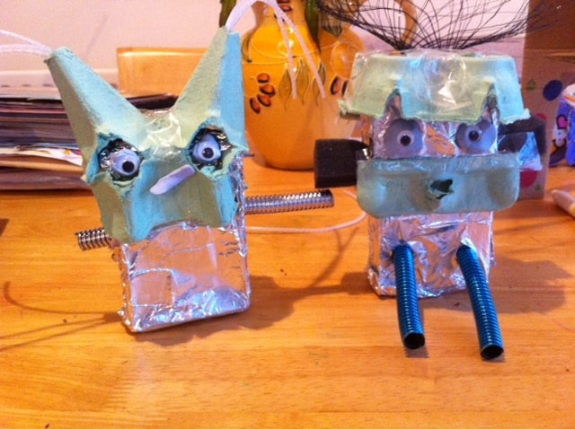 Cardboard box carfts, robot making, playing with cardboard