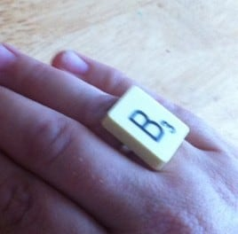 scrabble ring, scrabble jewellry