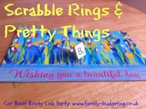 car boot sales, scrabble ring, scrabble letter ring