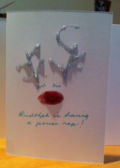 handmade rudolp[h card, funny homemade christmas card, christmas cards rudoph