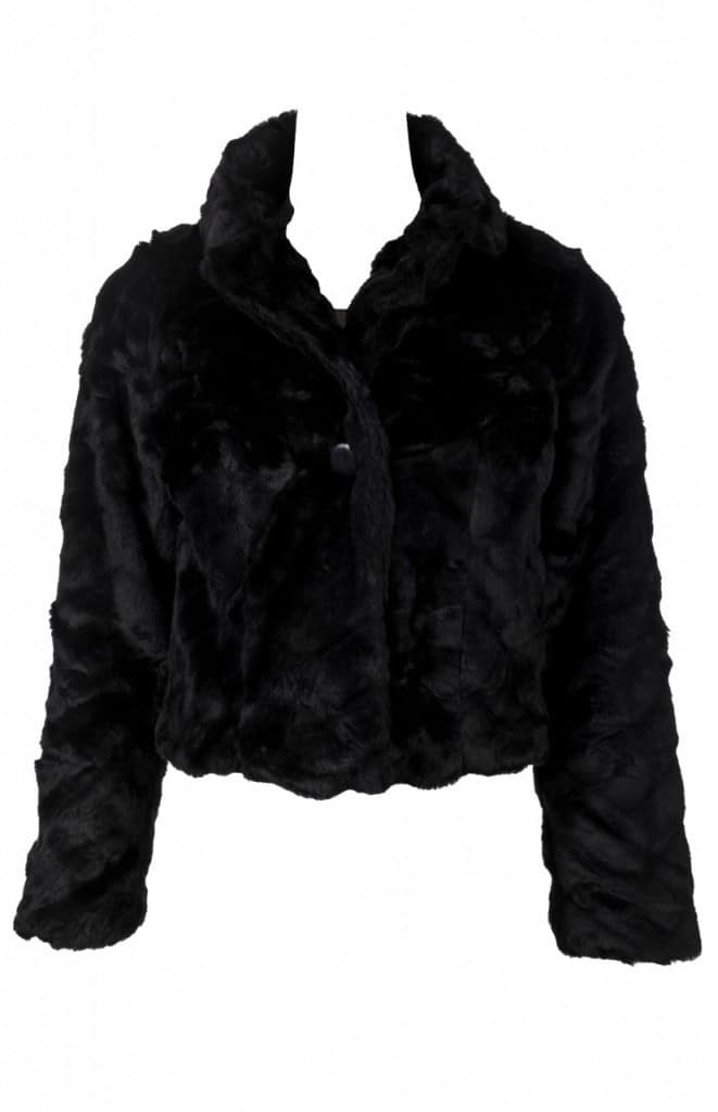 fake fur black jacket, cropped fake fur jacket