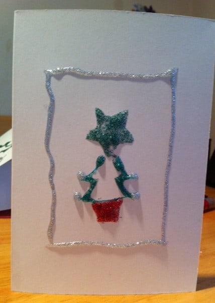 christmas tree card, handmade christmas cards