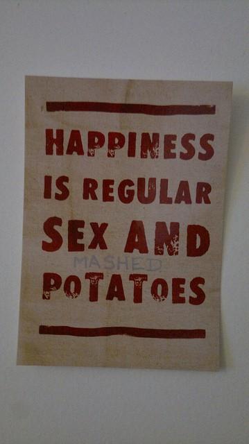 happiy sex, sex and potatoes, sex quote, regular sex