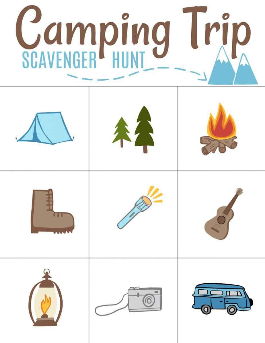 photograph relating to Camping Scavenger Hunt Printable referred to as Free of charge Tenting Scavenger Hunt Printable - household budgeting